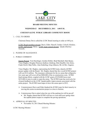 LCDC Meeting Minutes 12/21/11 1 BOARD MEETING MINUTES ...