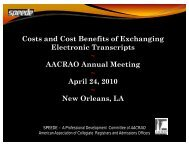 Costs and Cost Benefits of Exchanging Electronic ... - AACRAO