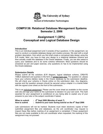 Assignment 1 (20%) Conceptual and Logical Database Design