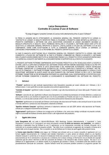 Leica Geosystems Contratto di Licenza d'uso di Software