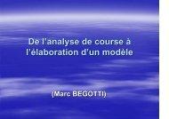 Analyse de course et modèle