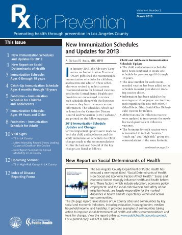 New Immunization Schedules and Updates for 2013 - Department of ...