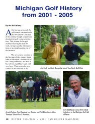 18 Michigan Golf History, 2001-2005, by Art McCafferty