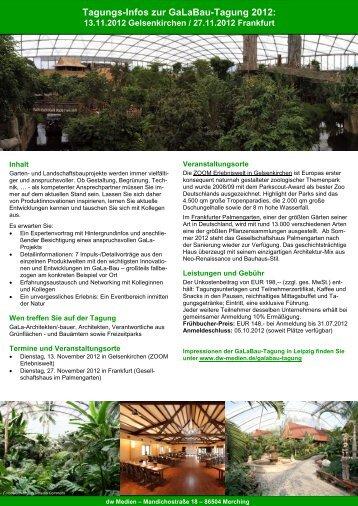 Tagungs-Infos zur Galabau-Tagung 2012: