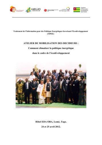 ATELIER DE MOBILISATION DES DECIDEURS - HELIO International