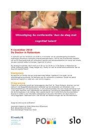 Uitnodiging 4e conferentie 'Aan de slag met cognitief talent'