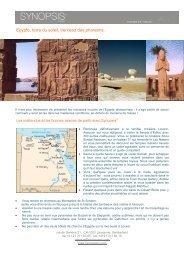 Egypte, terre du soleil, berceau des pharaons. - Synopsism