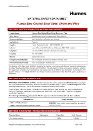Zinc coated steel strip sheet and pipe MSDS - Humes