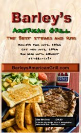 Menu cover page 1 - Barley's American Grill