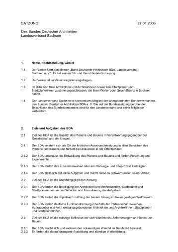 SATZUNG 27.01.2006 Des Bundes Deutscher ... - BDA Sachsen