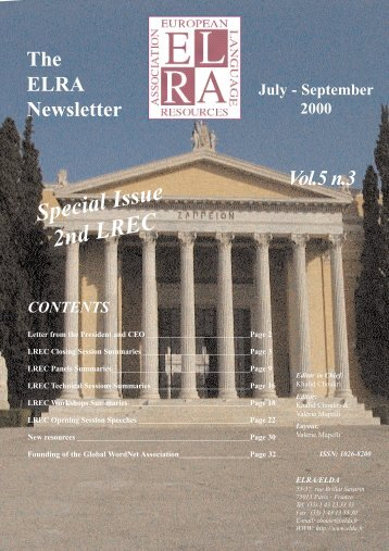 Vol.5 Nº3, July-September 2000 - Special issue: 2nd LREC - ELRA
