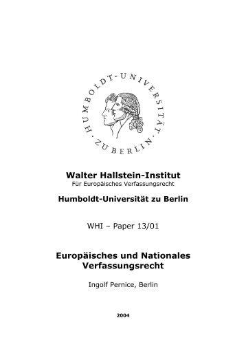 Europäisches und Nationales Verfassungsrecht - WHI-Berlin