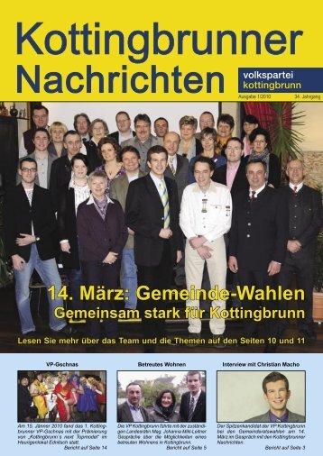14. März: Gemeinde-Wahlen - Volkspartei Kottingbrunn