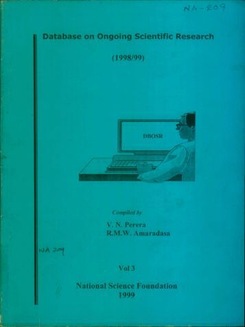 Database on Ongoing Scientific Research (1998/99) Vol 3 National ...