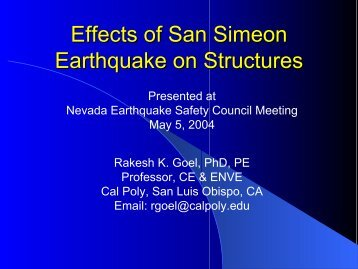 Effects of San Simeon Earthquake on Structures (Presented to the ...