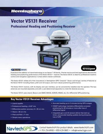 Hemisphere GPS Vector VS131 Receiver Data Sheet - NavtechGPS