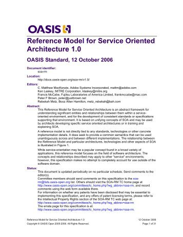Service Oriented Architecture Reference Model - docs oasis open ...