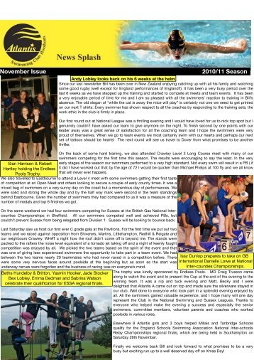 Atlantis Newsletter November - Atlantis Swimming Club