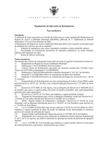 Regulamento de Operações de Realojamento anexo à proposta ...