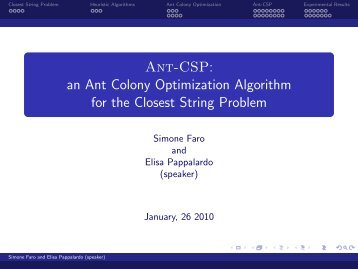 an Ant Colony Optimization Algorithm for the Closest String Problem