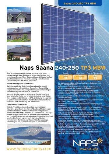 Naps Saana 240-250 TP3 MBW  - Reimann Solar GmbH