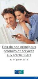 Prix de nos principaux produits et services aux Particuliers - CIC