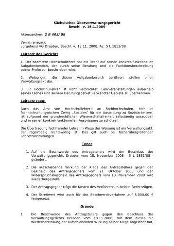 OVG Bautzen, Beschl. v. 16.1.2009-2 B 403.08 - RAEG