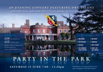PARTY IN THE PARK PARTY IN THE PARK - Old Buckenham Hall