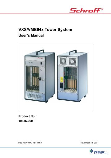 VXS/VME64x Tower System User's Manual Product No.: 10836-060