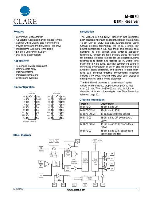 M- 8870 DTMF Receiver - Datasheet Catalog