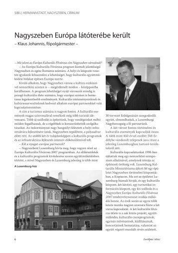Nagyszeben Európa látóterébe került Interjú Klaus Johannis ...