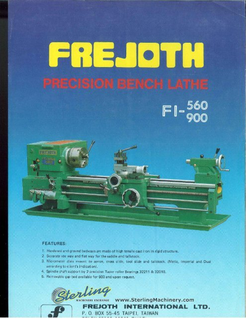 Enjoyable Frejoth Presision Bench Lathe Fi 560 900 Brochure Sterling Dailytribune Chair Design For Home Dailytribuneorg