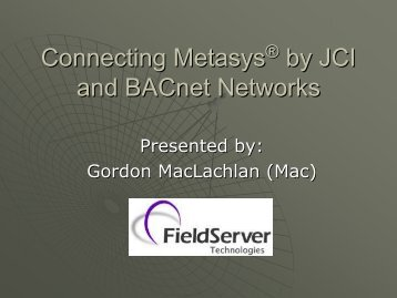 Connecting Metasys by JCI and BACnet Networks