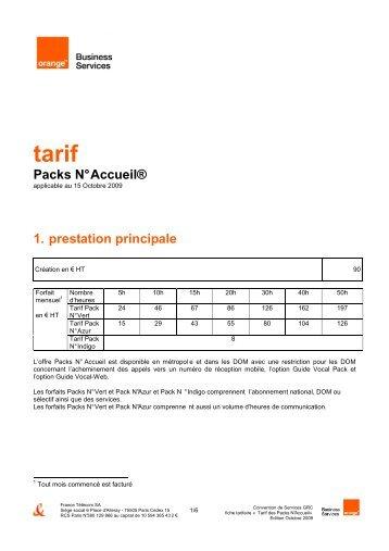 tarif Packs N° Accueil - Orange