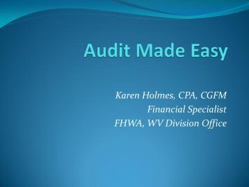 Audit Made Easy - West Virginia Department of Transportation