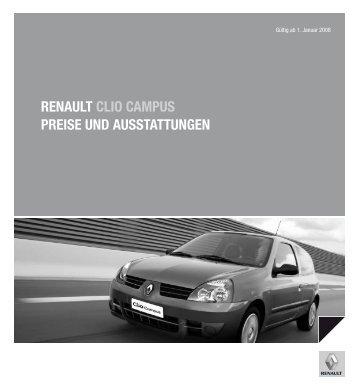RENAULT CLIO CAMPUS PREISE UND AUSSTATTUNGEN