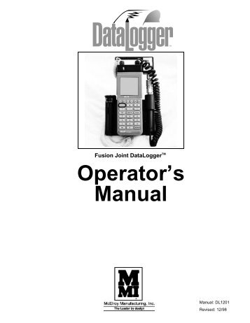 Operator's manual (PDF) - McElroy Manufacturing, Inc.