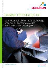 GAMME DE POSTES TIG - Air Liquide Welding