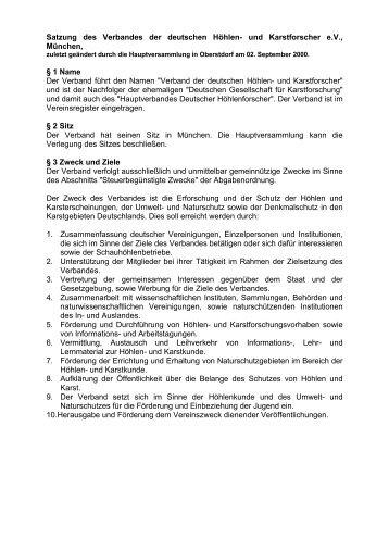 Satzung des Verbandes der deutschen Höhlen- und ... - VdHK