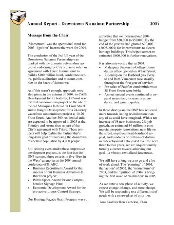 Annual Report 2004 - Downtown Nanaimo Business Improvement ...