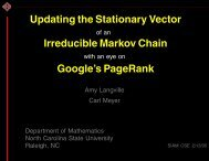 Updating the Stationary Vector Irreducible Markov ... - Carl Meyer