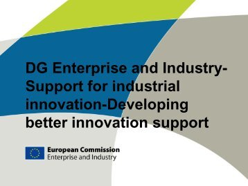 DG Enterprise and Industry- Support for industrial innovation ...