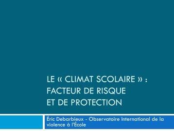 """Le """"climat scolaire"""" : facteur de risque et de protection - Esen"""