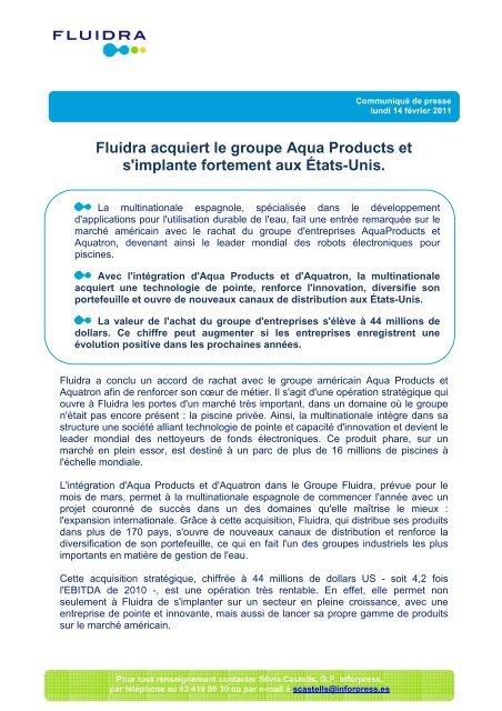 Fluidra acquiert le groupe Aqua Products et s'implante fortement aux ...