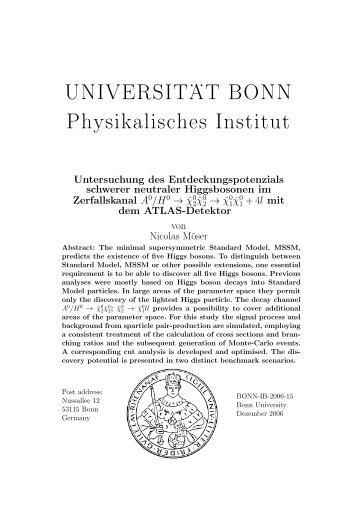 UNIVERSIT . . AT BONN Physikalisches Institut - Universität Bonn