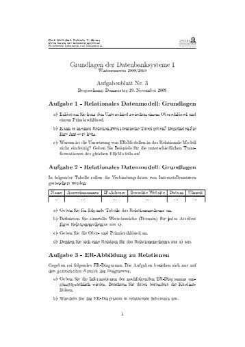 Datenbanken I, Ãœbungsblatt 3