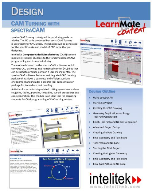 E-learning Content CAM Turning spectraCAM - Intelitek