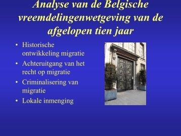 Analyse van de Belgische vreemdelingenwetgeving van de ... - De8