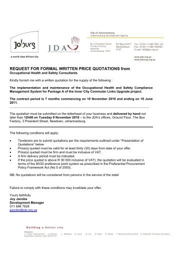 Request For Formal Written Price Quotations (Over