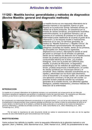Artículos de revisión 111202 - Mastitis bovina - Veterinaria.org